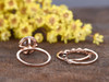 2.3 Carat Round Morganite Bridal Set 14k Rose Gold Diamond Engagement Ring Halo Stacking Matching Band