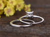 1 Carat Princess Cut Moissanite Engagement Ring Set Diamond Wedding Band 14k White Gold Art Deco Half Eternity