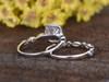 1 Carat Round Moissanite Wedding Ring Sets Diamond Art Deco Matching Band 14k White Gold Cushion Halo Milgrain