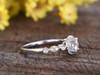 0.5 Carat Round Moissanite Halo Engagement Ring Diamond 14k White Gold Art Deco Milgrain Stacking Band