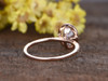 1.5 Carat Oval Moissanite Engagement Rings Diamond 14k Rose Gold Halo Thin Design Stacking Band