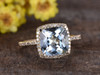 3 Carat Cushion Cut Aquamarine Diamond Engagement Ring 14k Yellow Gold Birthstone Halo Stacking Band