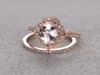 1.3 Carat Cushion Cut Morganite Wedding Set Diamond Bridal Ring 14k Rose Gold Retro Vintage Art Deco Antique Flower