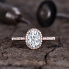 Forever One Moissanite Engagement ring Halo Rose Gold 5x7mm Moissanite Wedding Ring Oval 1 carat gemstone with Diamond Bridal Ring 14K/18K