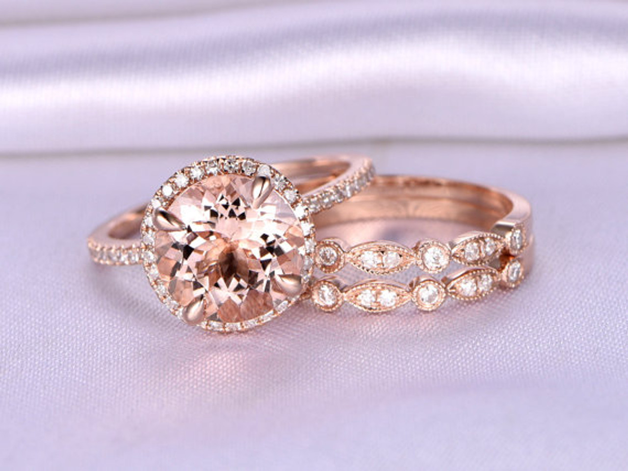 3pcs 9mm Big Morganite Wedding Ring SetEngagement ring14k Rose