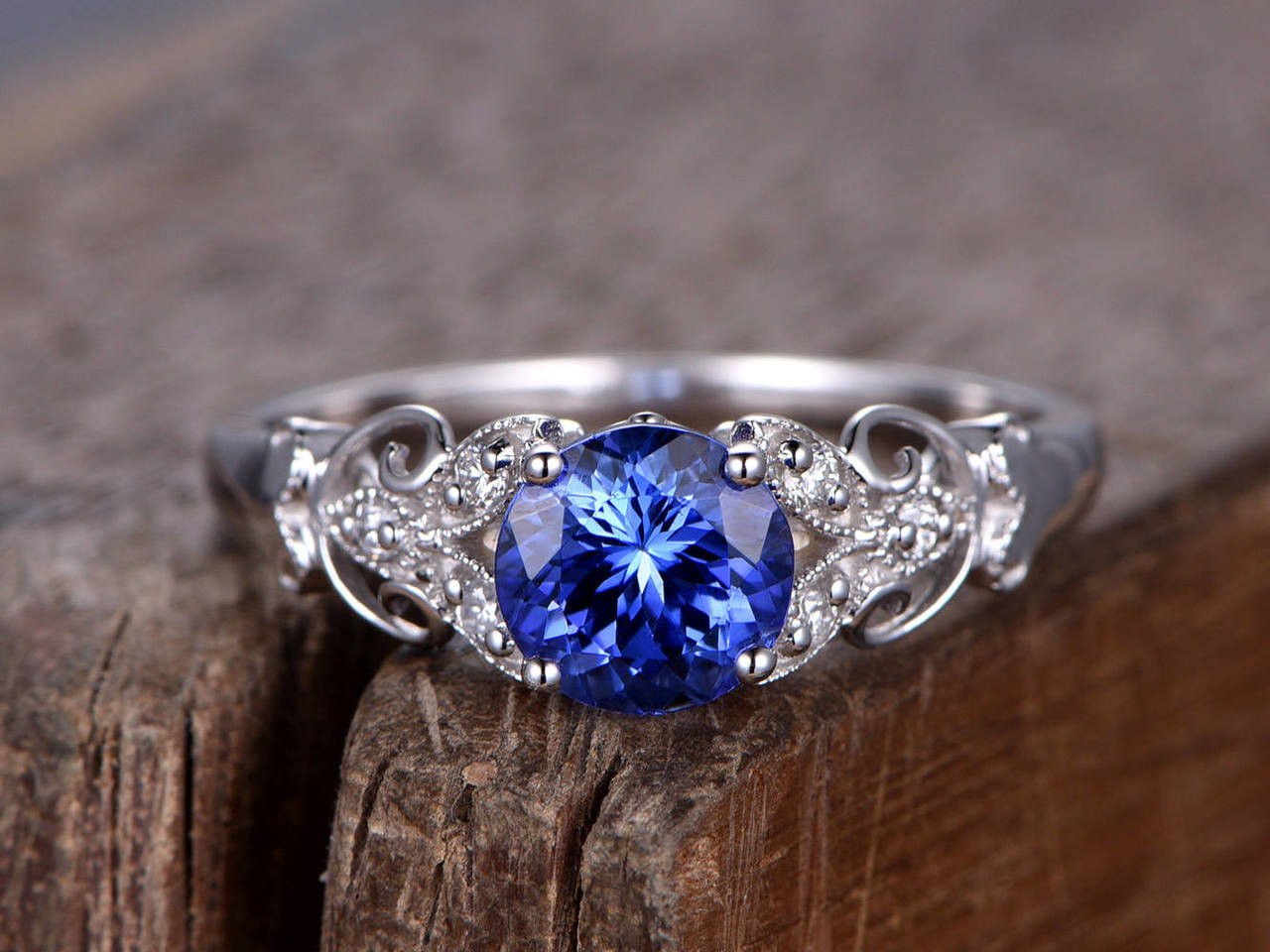 Sapphire ring,Art Deco Engagement ring,6mm round created blue gem,Antique Floral sterling silver wedding band,white gold plated,Bridal ring