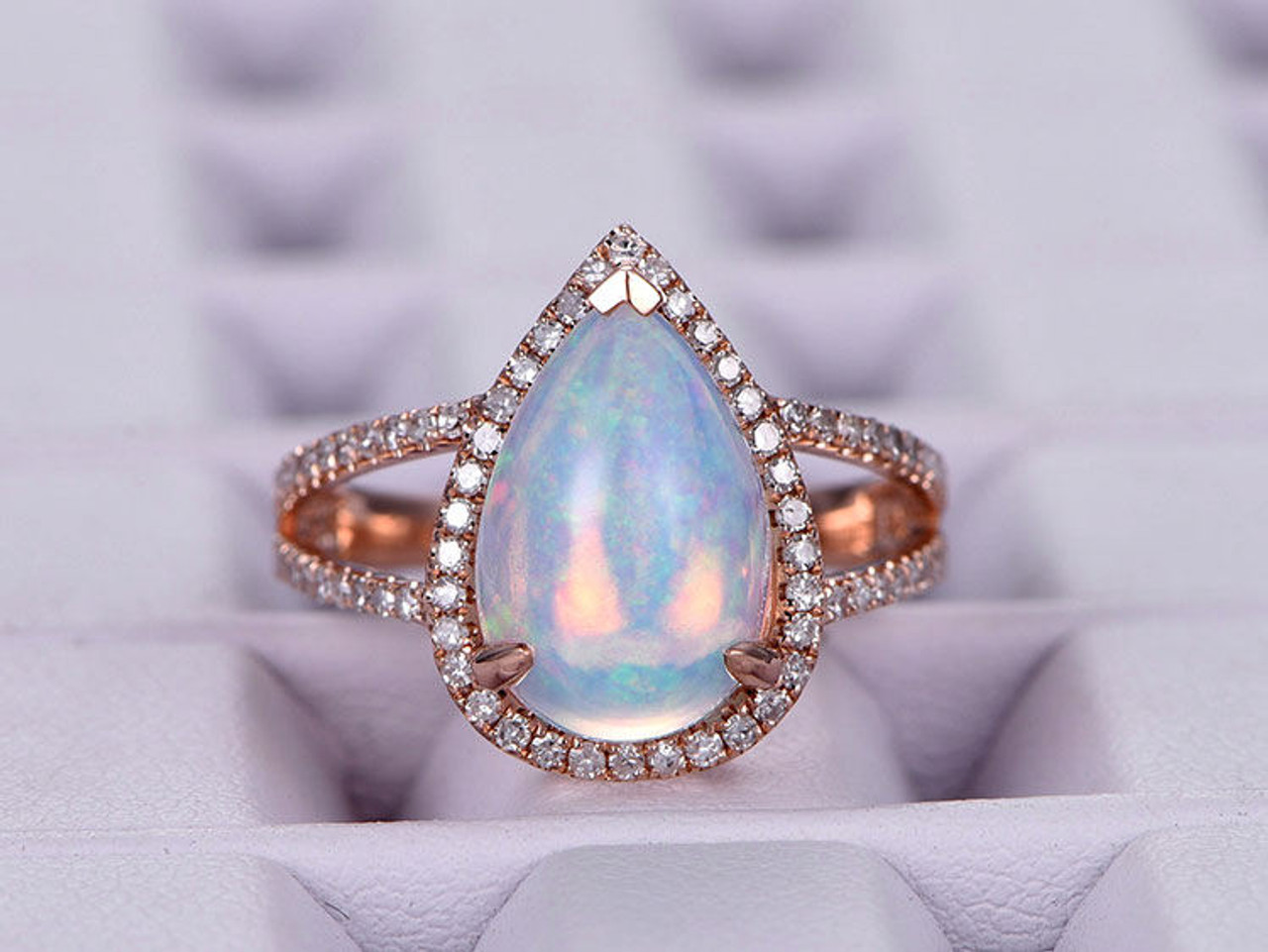 Pear-shaped African Opal Engagement ring/
