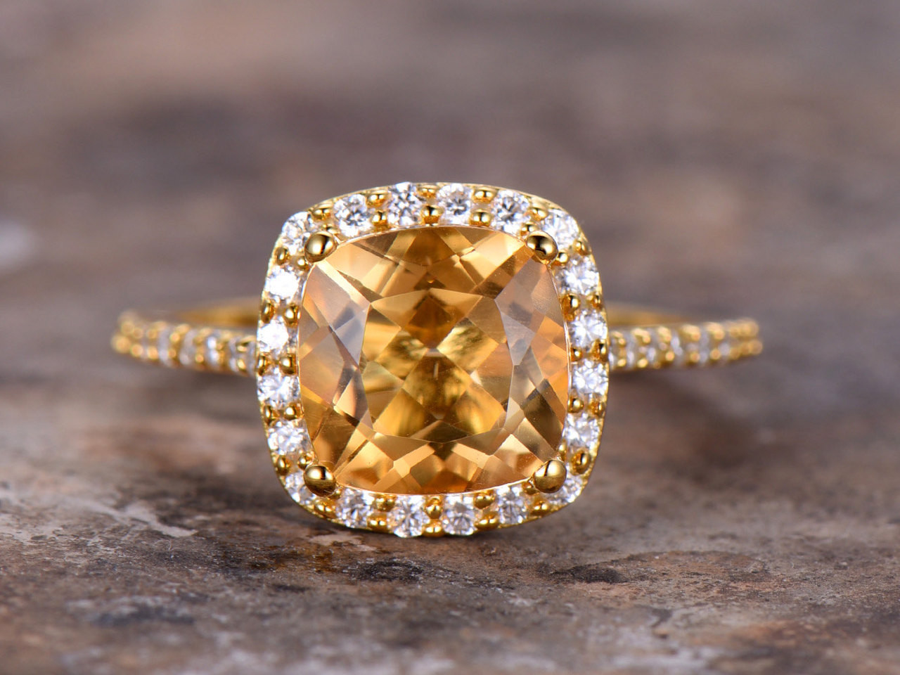 8mm Cushion Cut Citrine Engagement Ring Yellow Gold Plated 925