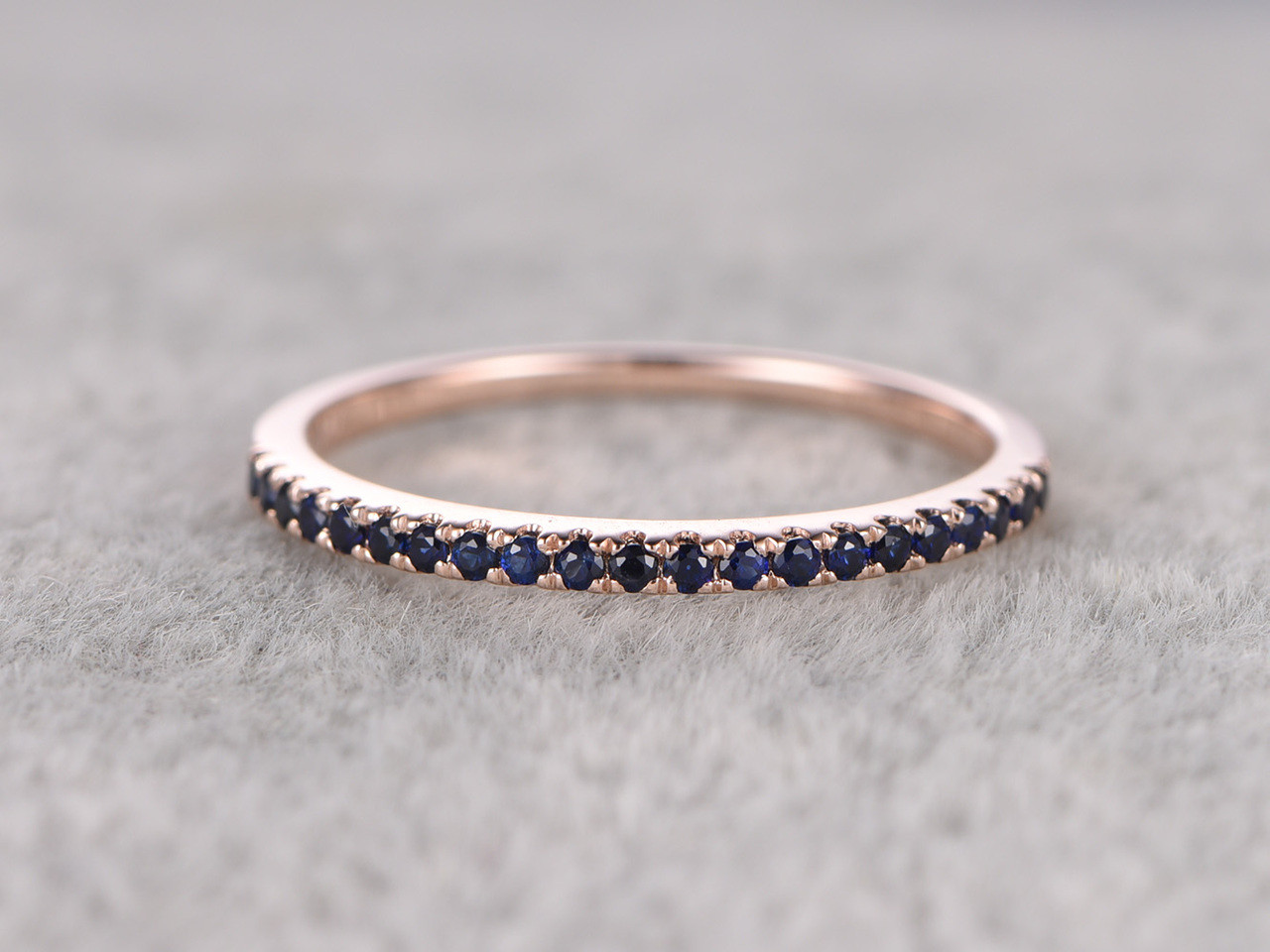 Blue Sapphire Wedding Ring 14k Rose Gold Half Eternity Stacking