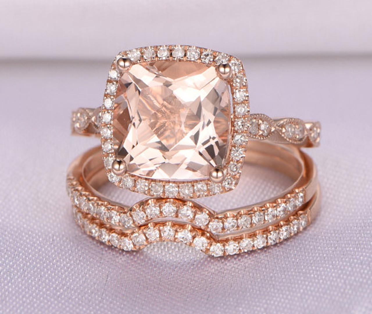 Morganite Wedding Ring SetRose gold morganite engagement ring8x8mm