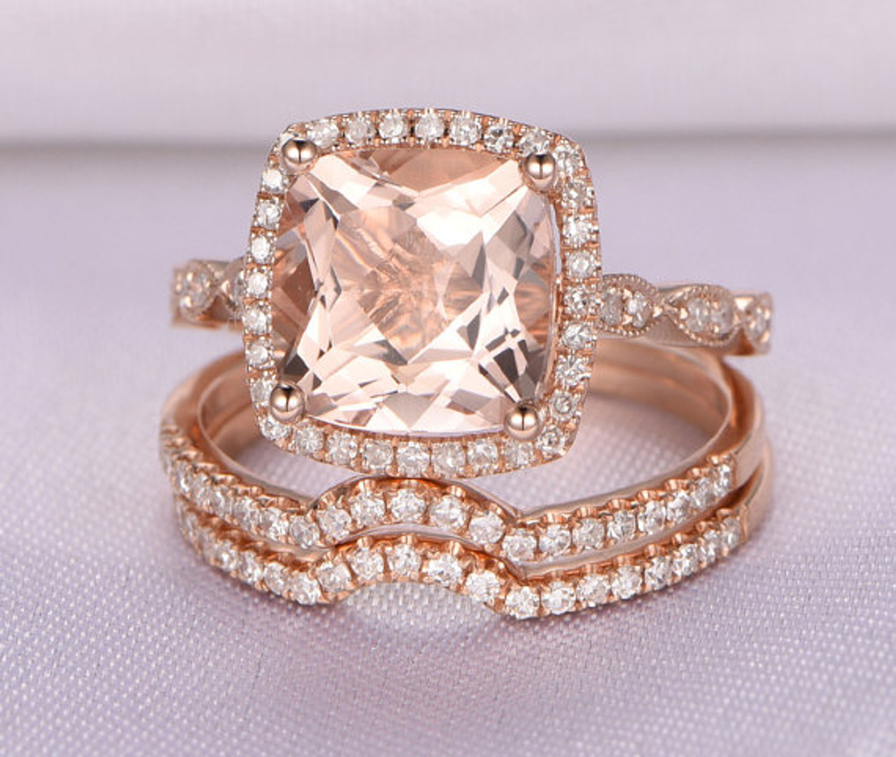Morganite Wedding Ring Sets