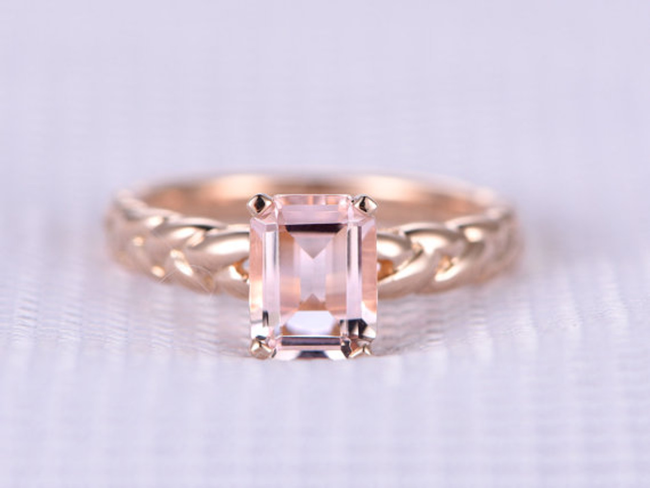 wedding three cushion stone morganite and with pink rings ring sapphire halo product