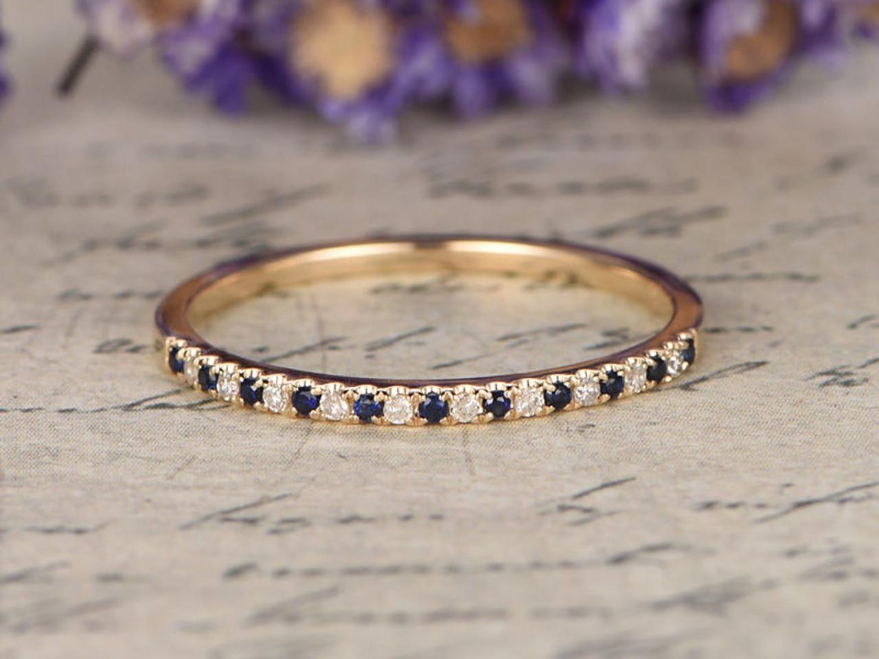 Blue sapphire Wedding Bands women diamondDiamond Engagement Ring