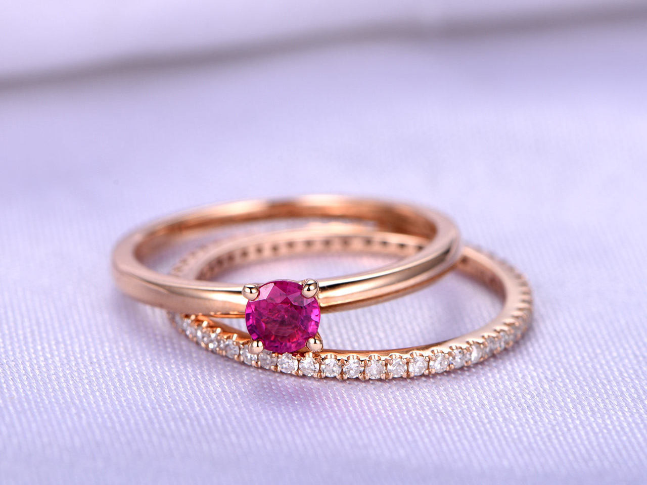 Beautiful Ruby Ring Ring,Wedding Ring Set,4mm Round Cut Natural Ruby Engagement Ring,