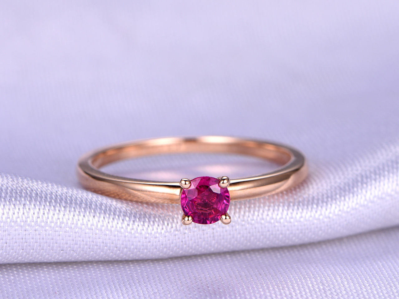 ruby ring 4mm round cut natural ruby engagement ring plain. Black Bedroom Furniture Sets. Home Design Ideas