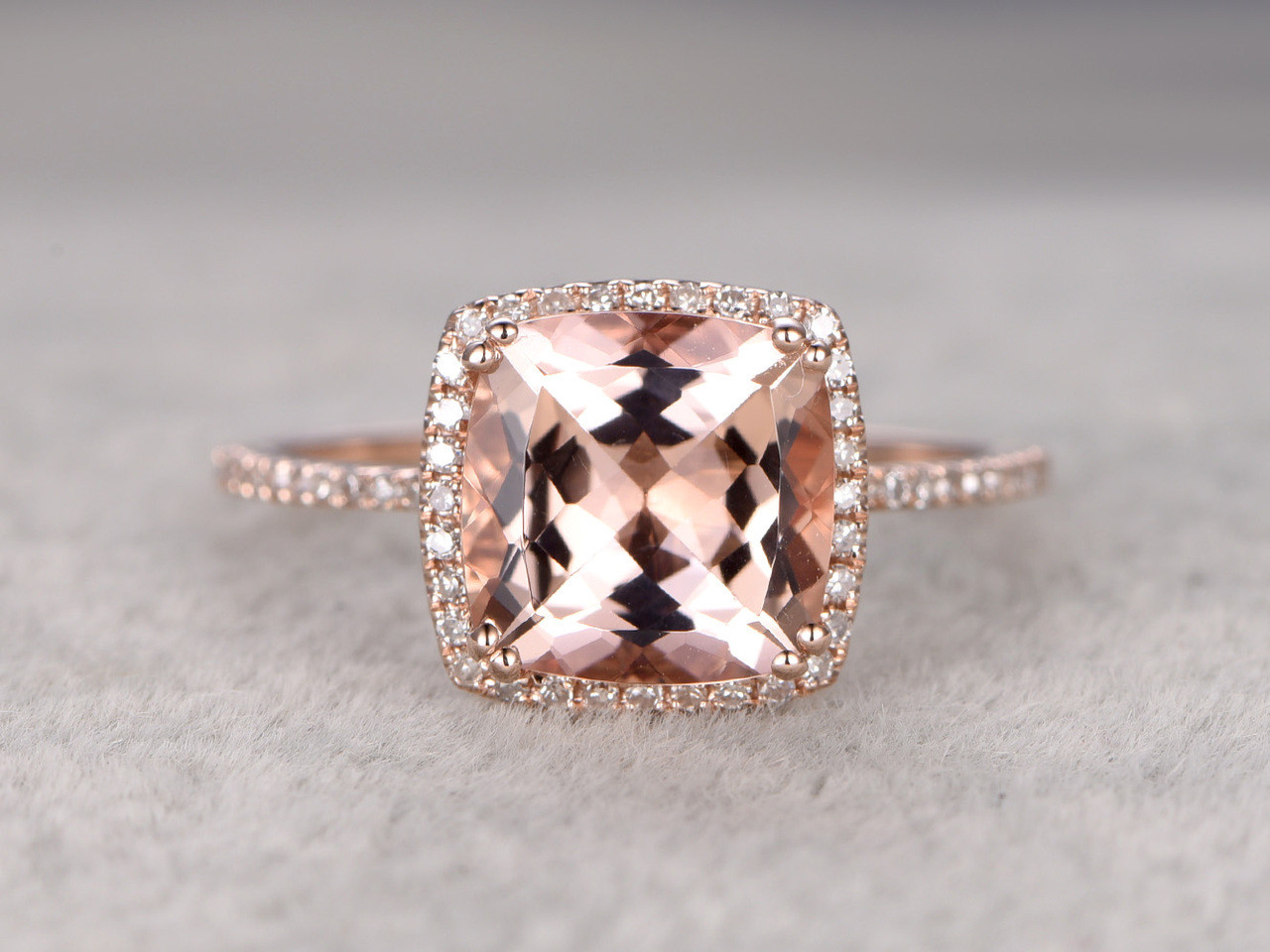 9mm Big Cushion 3 carat Morganite Engagement Ring Diamond Wedding