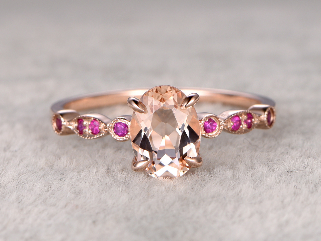 Oval morganite engagement ring ruby wedding ring bbbgem 8x6mm oval morganite engagement ring ruby wedding ring 14k rose gold pink milgrain art deco antique junglespirit Image collections