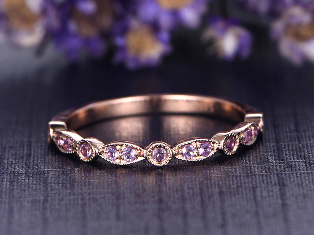 Natural Purple Amethyst Wedding Ring Solid 14K Rose Gold Wedding