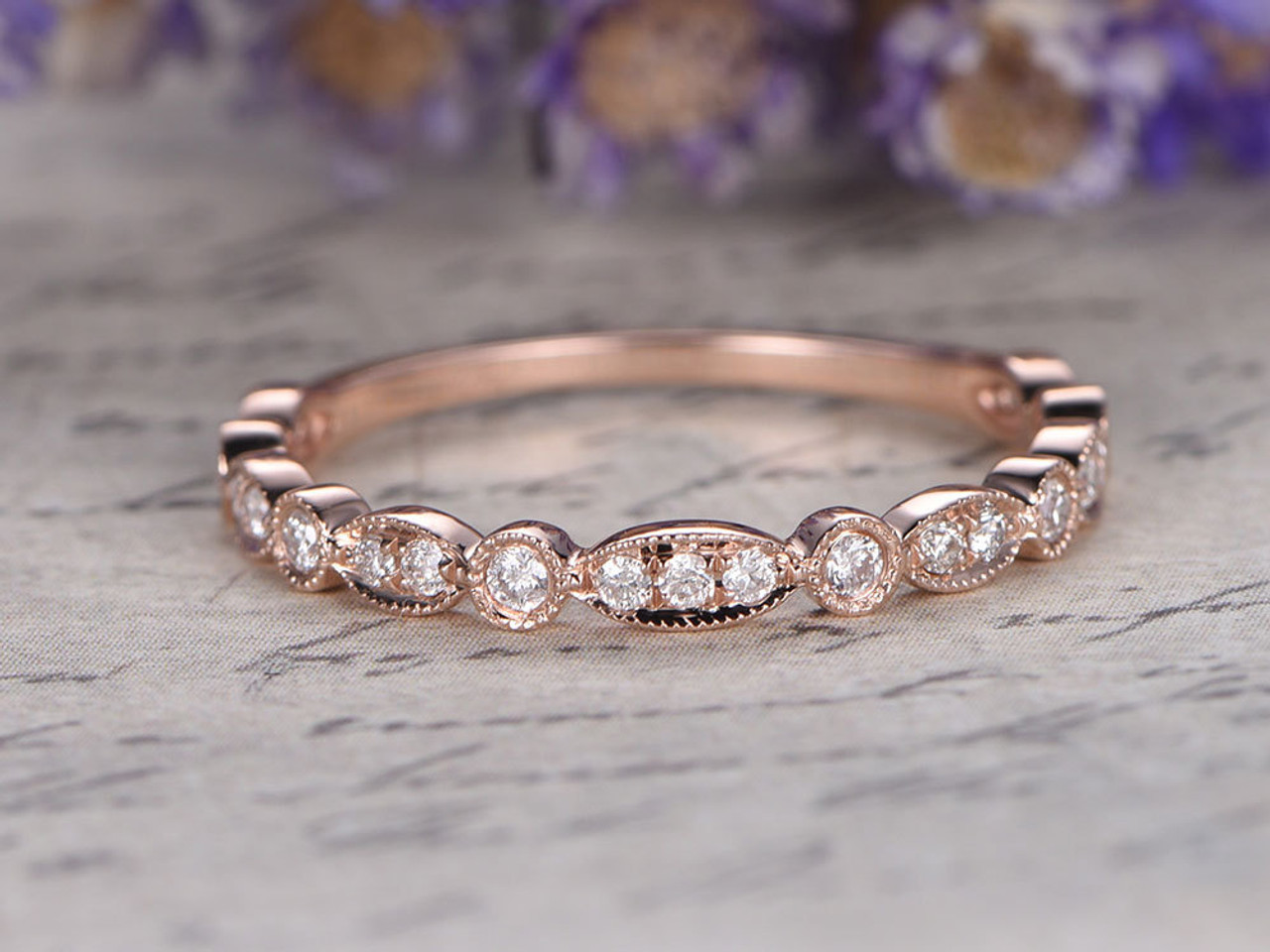 Marquise set Diamond Wedding BandSolid 14K rose Gold34 Eternity