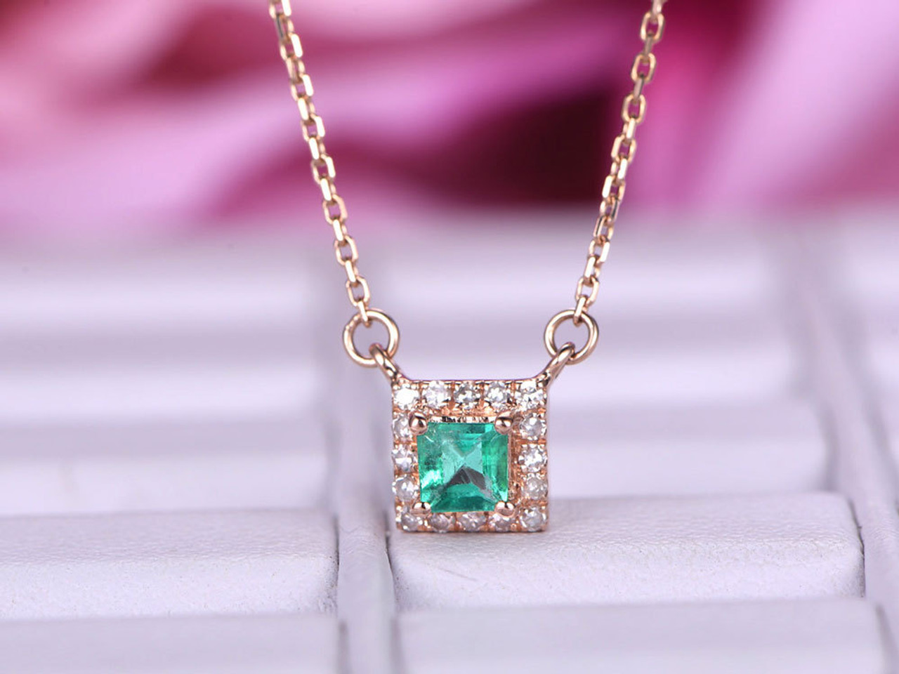 chain cubic wholesale natural charm accented necklace china gold filigree no emerald zirconia products pendant square gemstone emeral