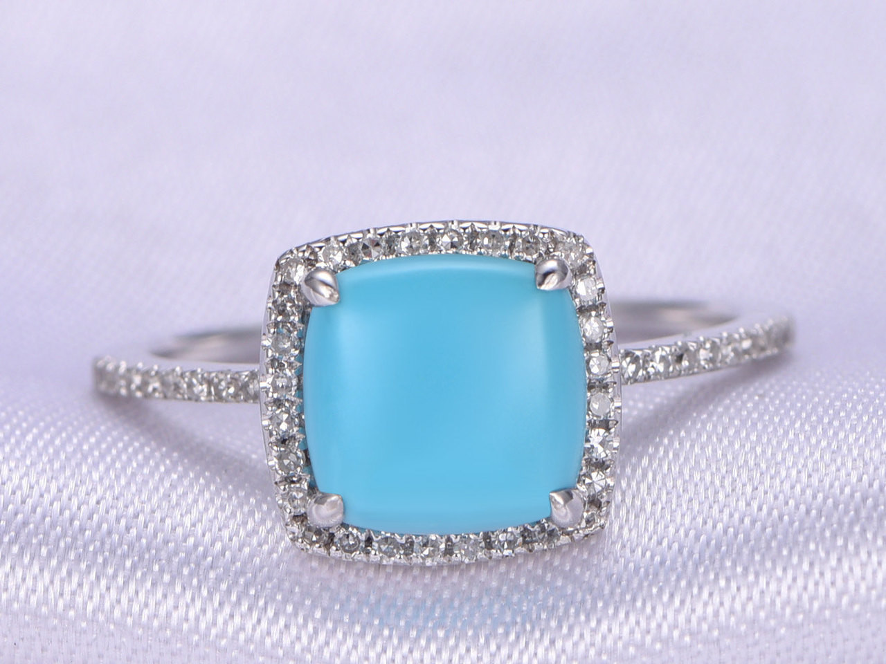 Sleeping Beauty Turquoise Ring8mm Cushion Cut Turquoise Engagement