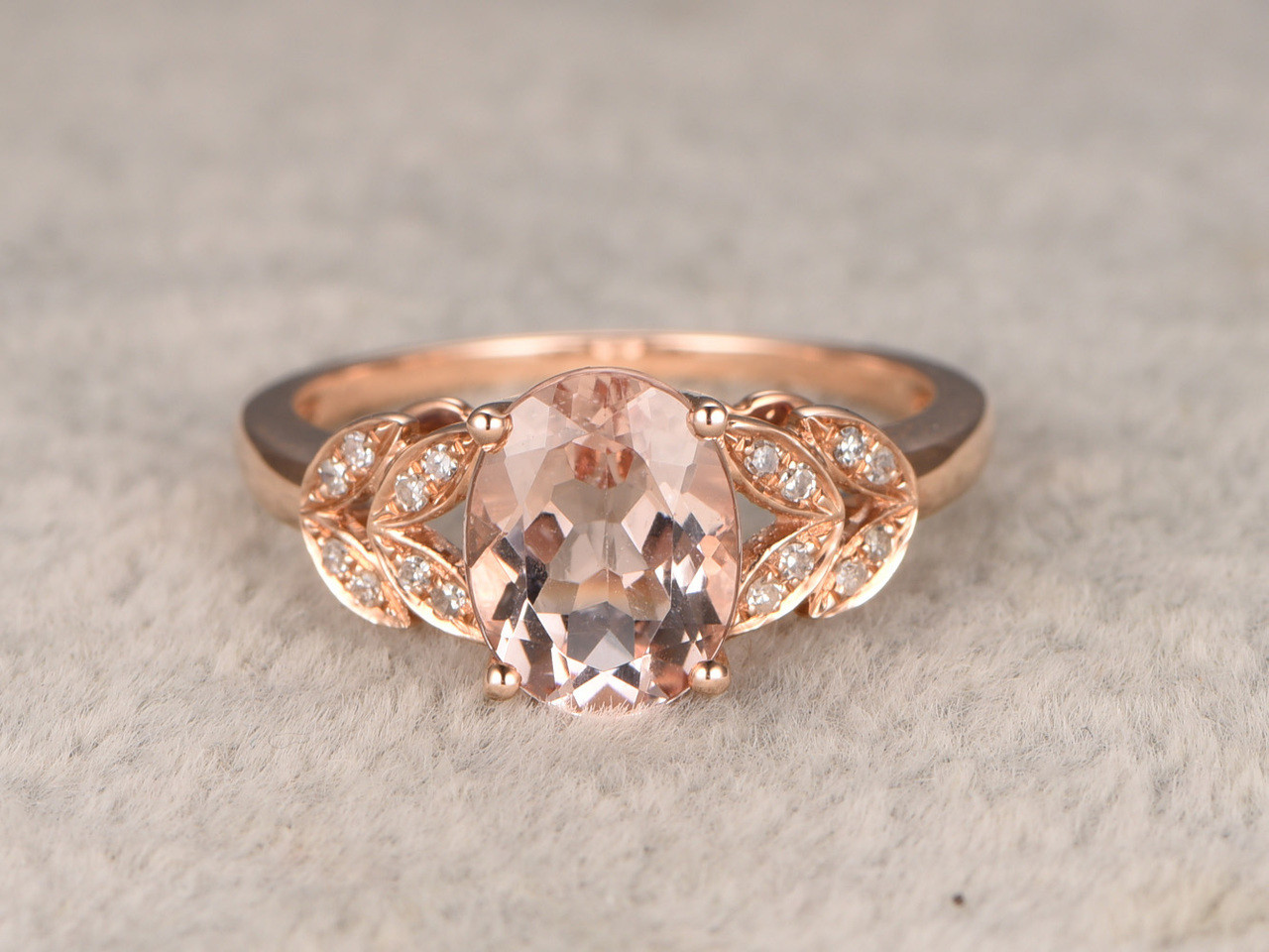 6x8mm Oval Morganite Engagement Ring Diamond Wedding Ring 14k Rose