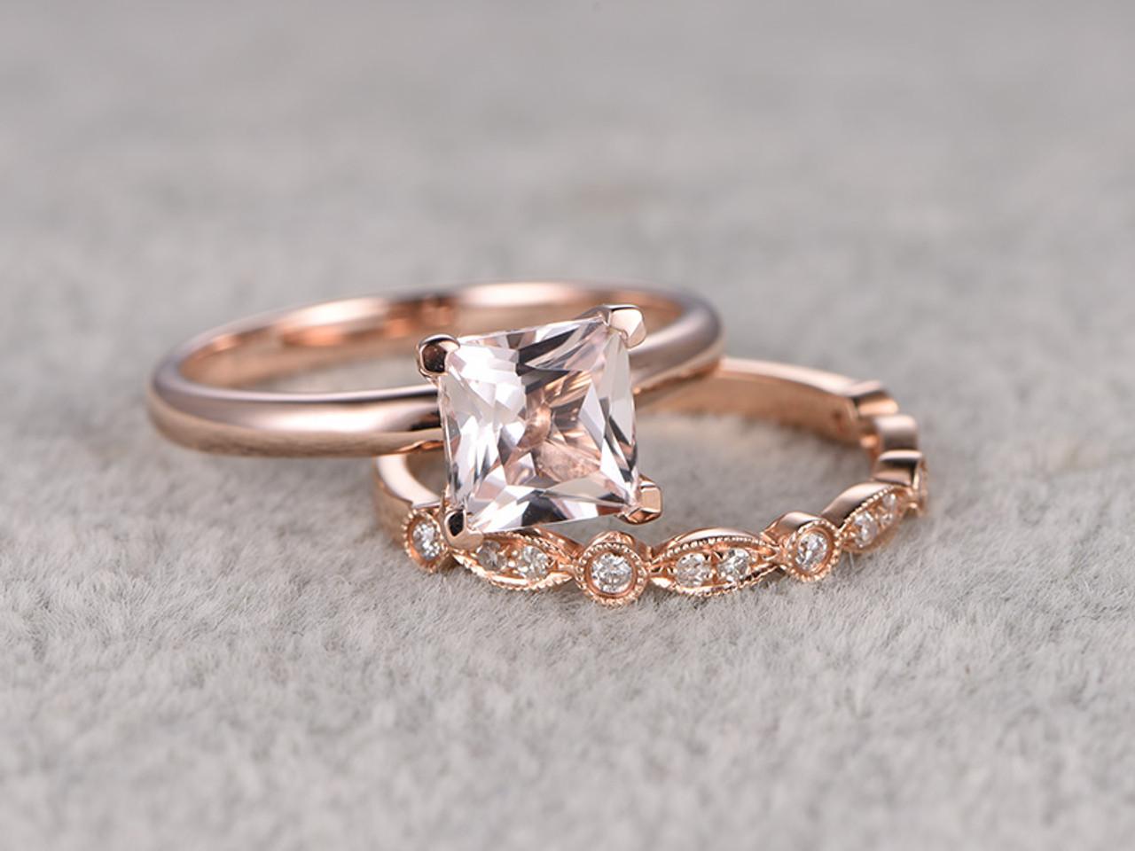 6 5mm Princess Cut Morganite Wedding Set Diamond Bridal