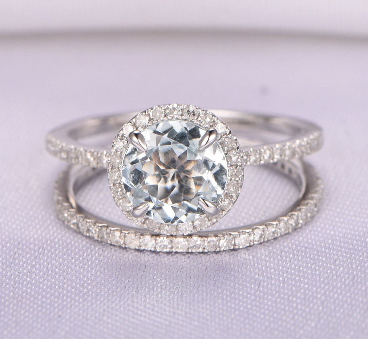 Aquamarine Engagement Ring Set,7mm Round Aquamarine Ring,14k White Gold,Eternity  Diamond