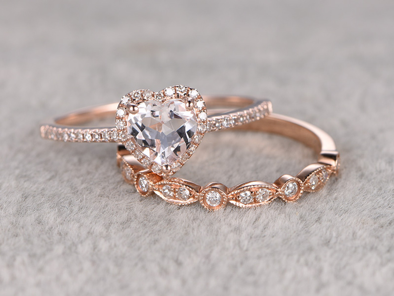 6mm Heart Shaped Morganite Wedding Set Diamond Bridal Ring 14k Rose Gold  Marquise Matching Band
