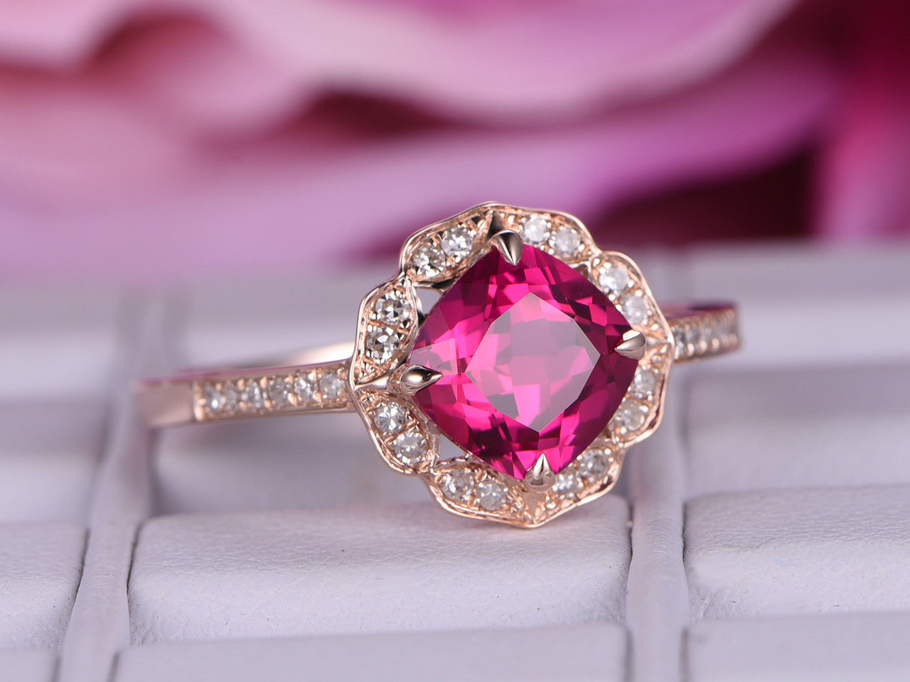 7x7mm Lab-treated Ruby ring with diamond in 14k rose gold/Halo ...