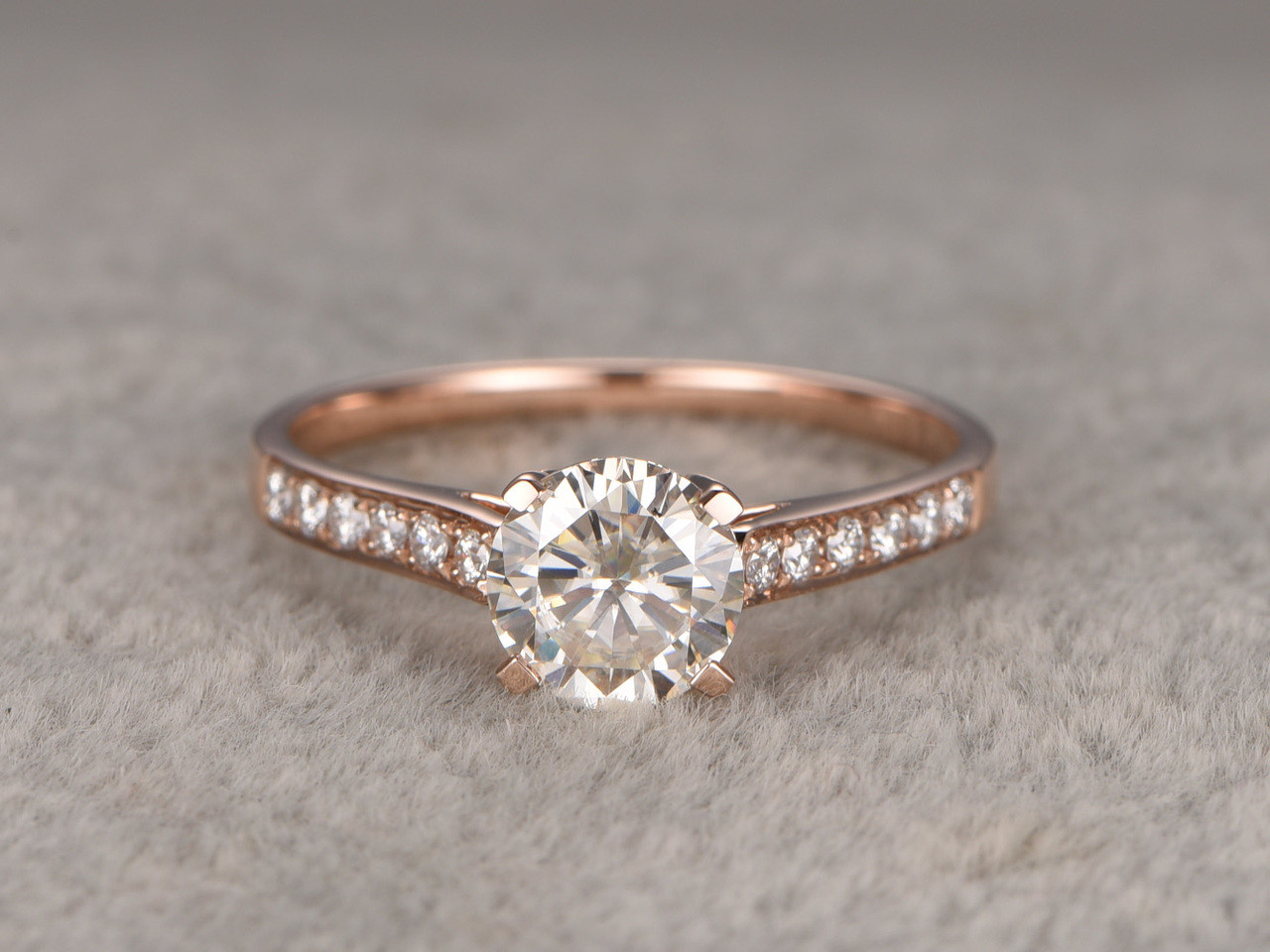 ring engagement gold set prong moissanite rings halo bbbgem diamond prongs round white wedding