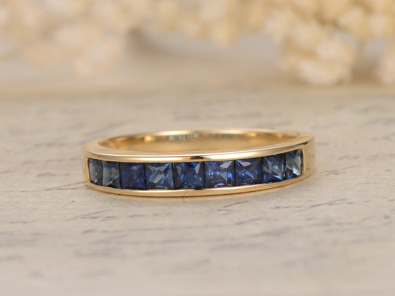 Princess Cut Sapphire Engagement Ring Wedding Band 14K Yellow Gold ...