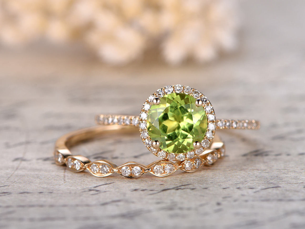 Peridot Engagement Ring Set 7mm Round Cut Peridot Bridal Sets And