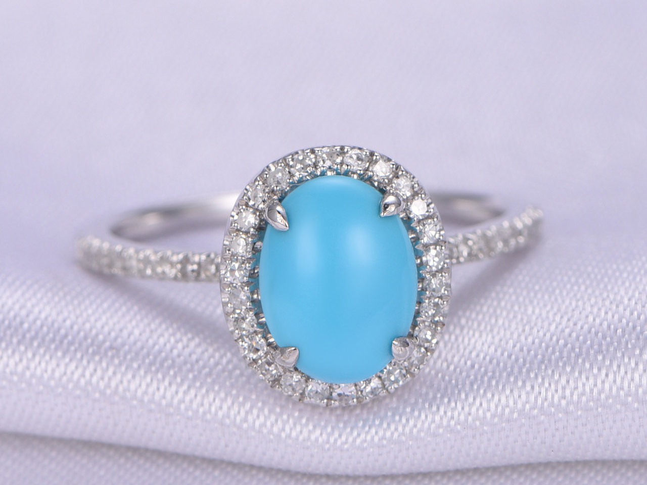 Sleeping Beauty Turquoise Ring,7x9mm Oval Cut Turquoise Engagement ...