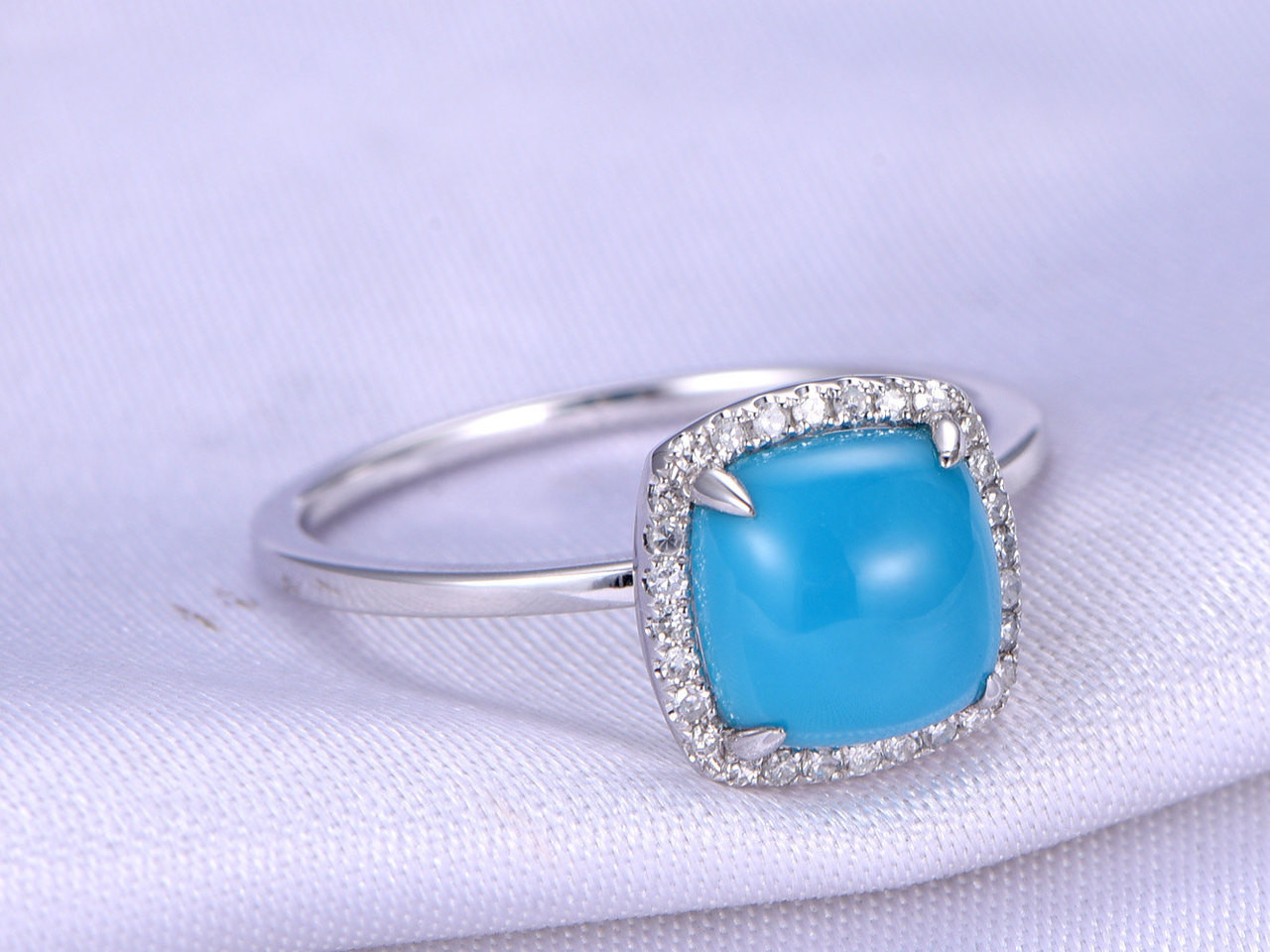 8mm Cushion Cut Turquoise Engagement ringSleeping Beauty Turquoise