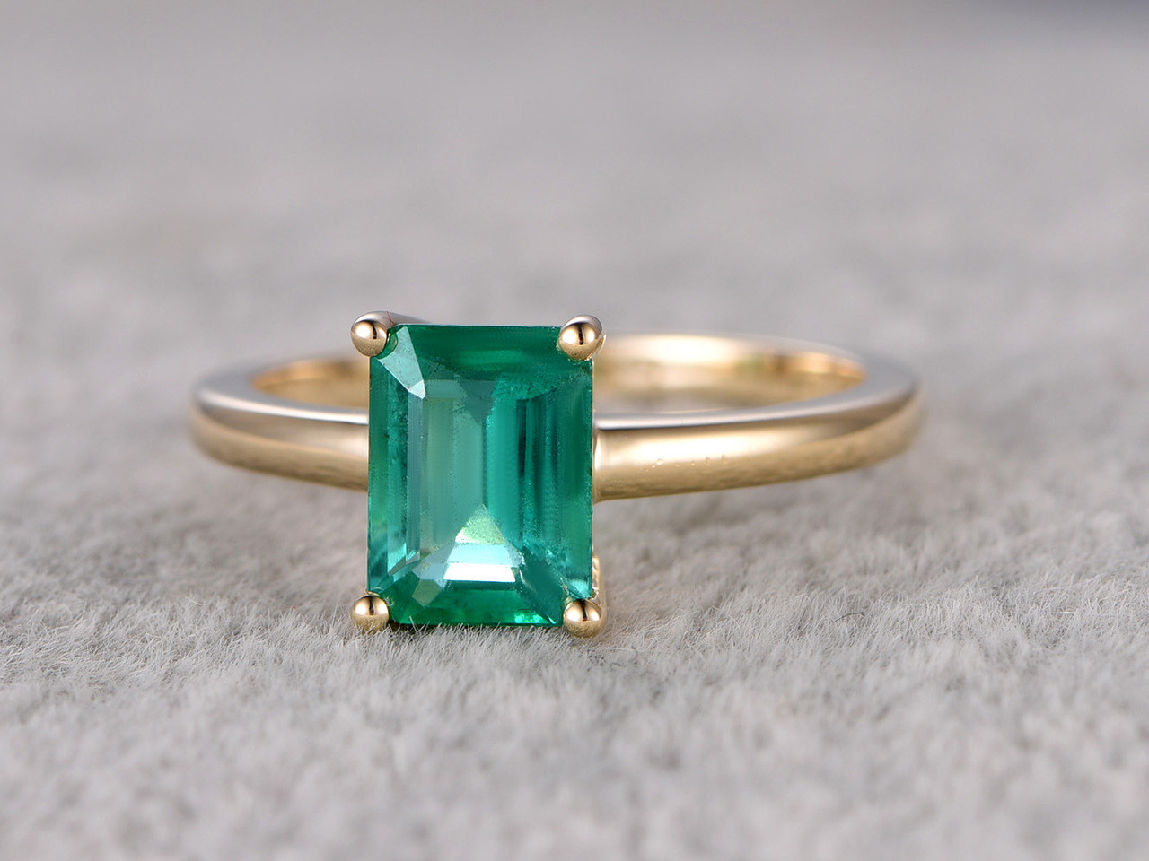 6x8mm Emerald Cut Natural Emerald Engagement Ring 14k Yellow Gold
