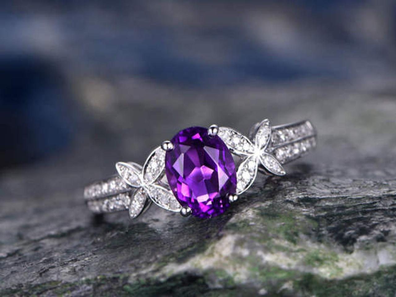 Purple Amethyst engagement ringSolid 14k White goldhandmade