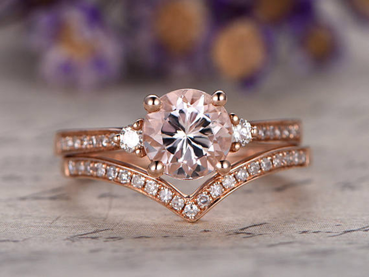 "Morganite Engagement Ring Rose Gold Wedding set, Solid 14K Anniversary ring,6.5mm Round halo Promise Ring For Her Curved ""v"" Matching band"
