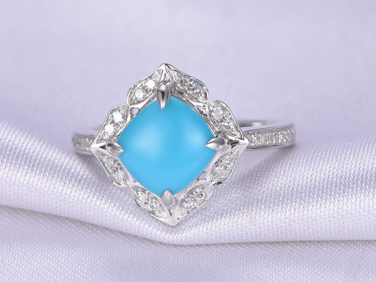 Turquoise Ring8x8mm Cushion Cut Turquoise Engagement ringSleeping