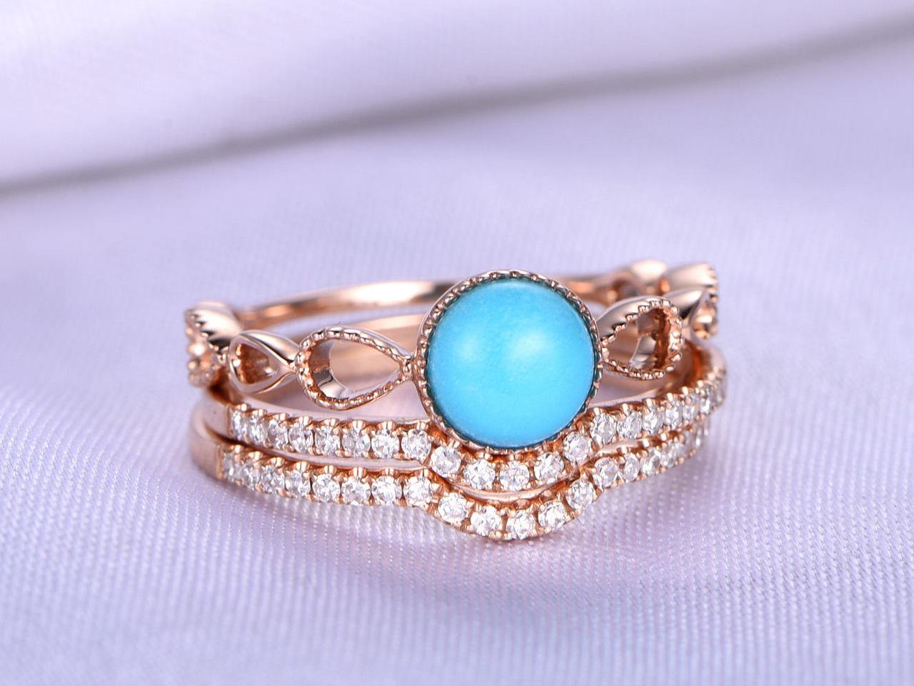 Wedding Ring Set Turquoise Bridal 6mm Round Cut Engagement