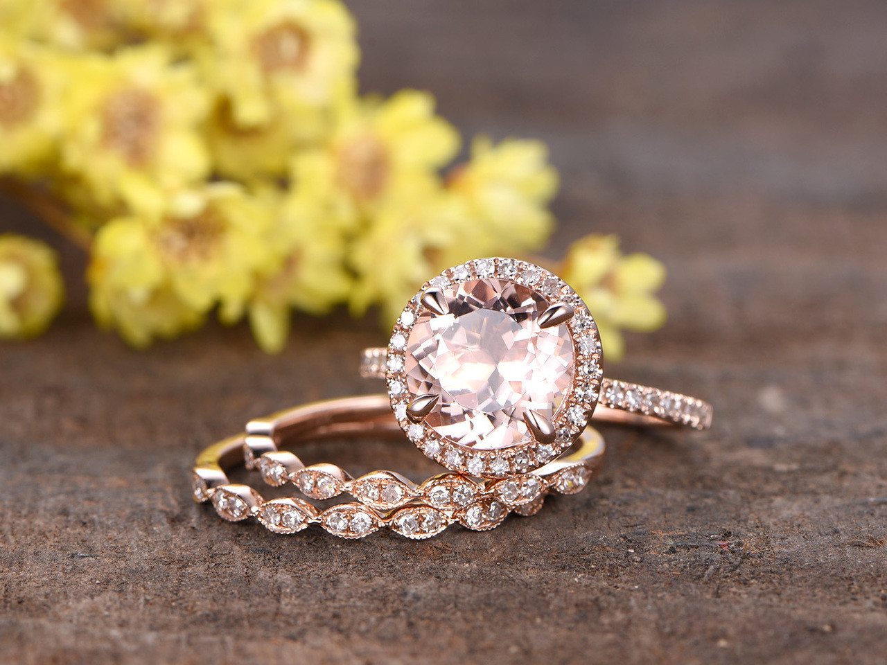 2.3 Carat Round Morganite Bridal Set 14k Rose Gold Diamond Engagement Ring  Halo Stacking Matching Band