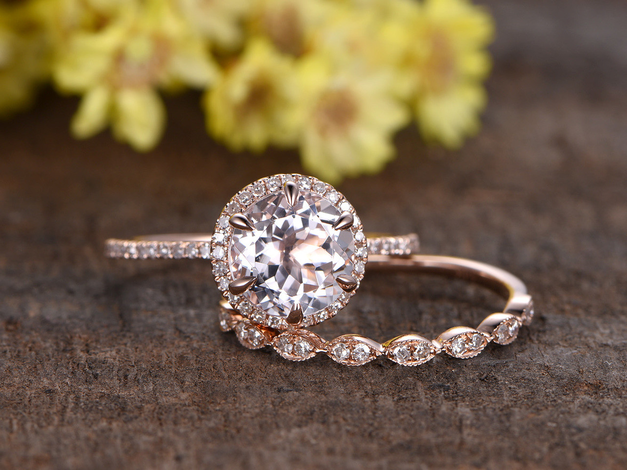 18 Carat Morganite Rose Gold Wedding Set Diamond Engagement Ring