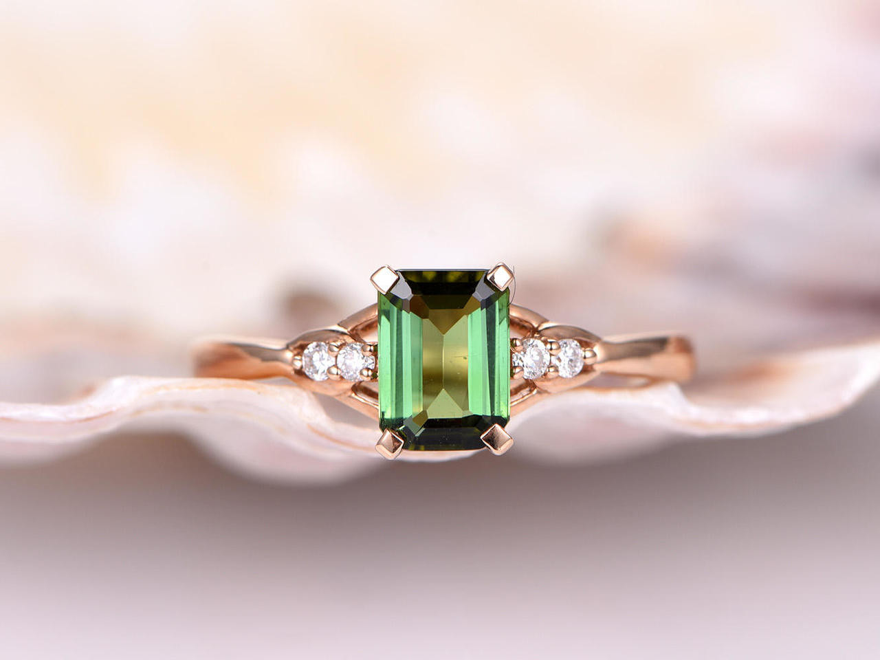 ring gemstone image green tourmaline engagement jewellery rings diamond white gold