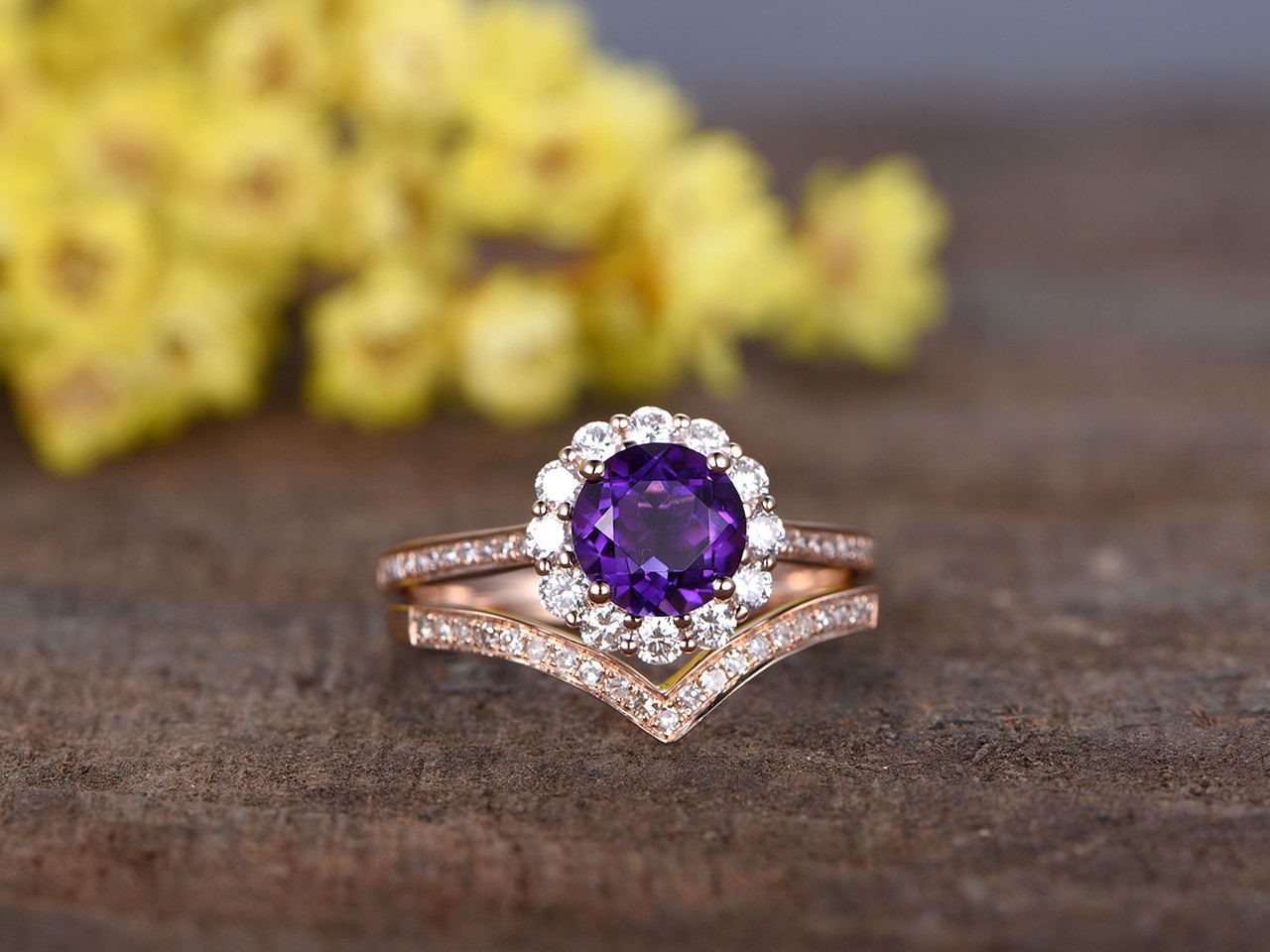 1.2 Carat Round Amethyst Wedding Ring Set 14k Rose Gold Flower Engagement  Ring Halo Moissanite And