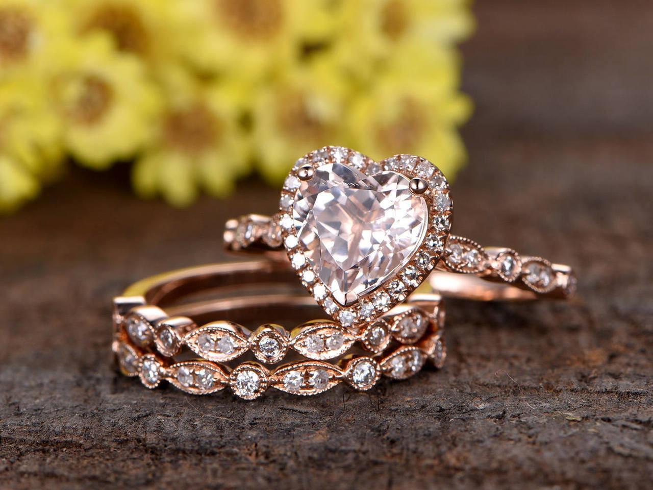 7mm Heart Shaped Pink Morganite Engagement Ring Set Half Eternity