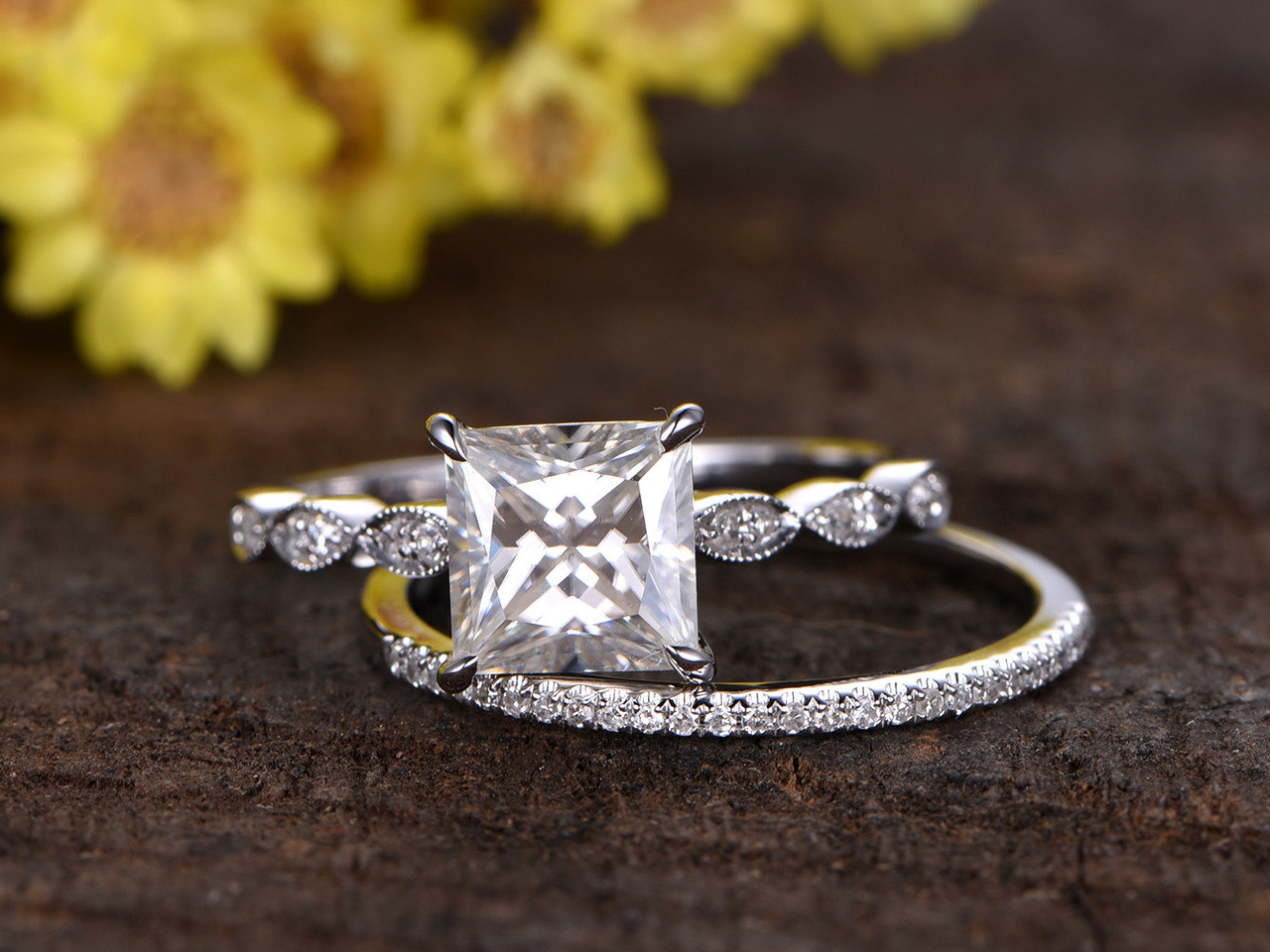 2 Carat Princess Cut Moissanite Engagement Ring Set Diamond Wedding