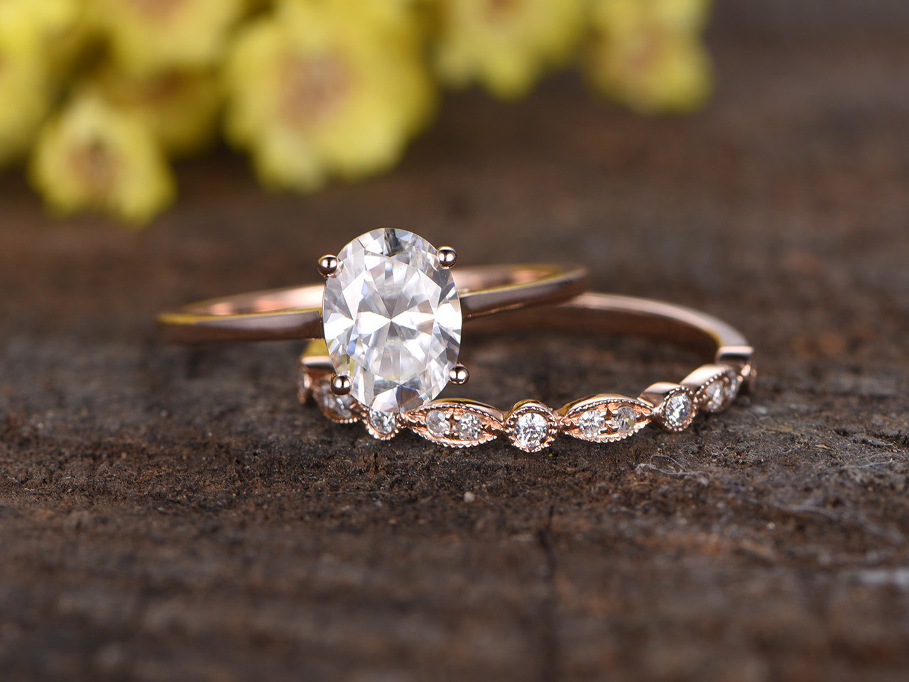 1.5 Carat Moissanite Solitaire Engagement Ring Set Diamond