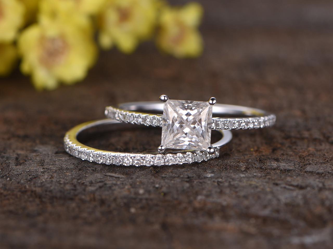 1 Carat Princess Cut Moissanite Engagement Ring Set Diamond Wedding