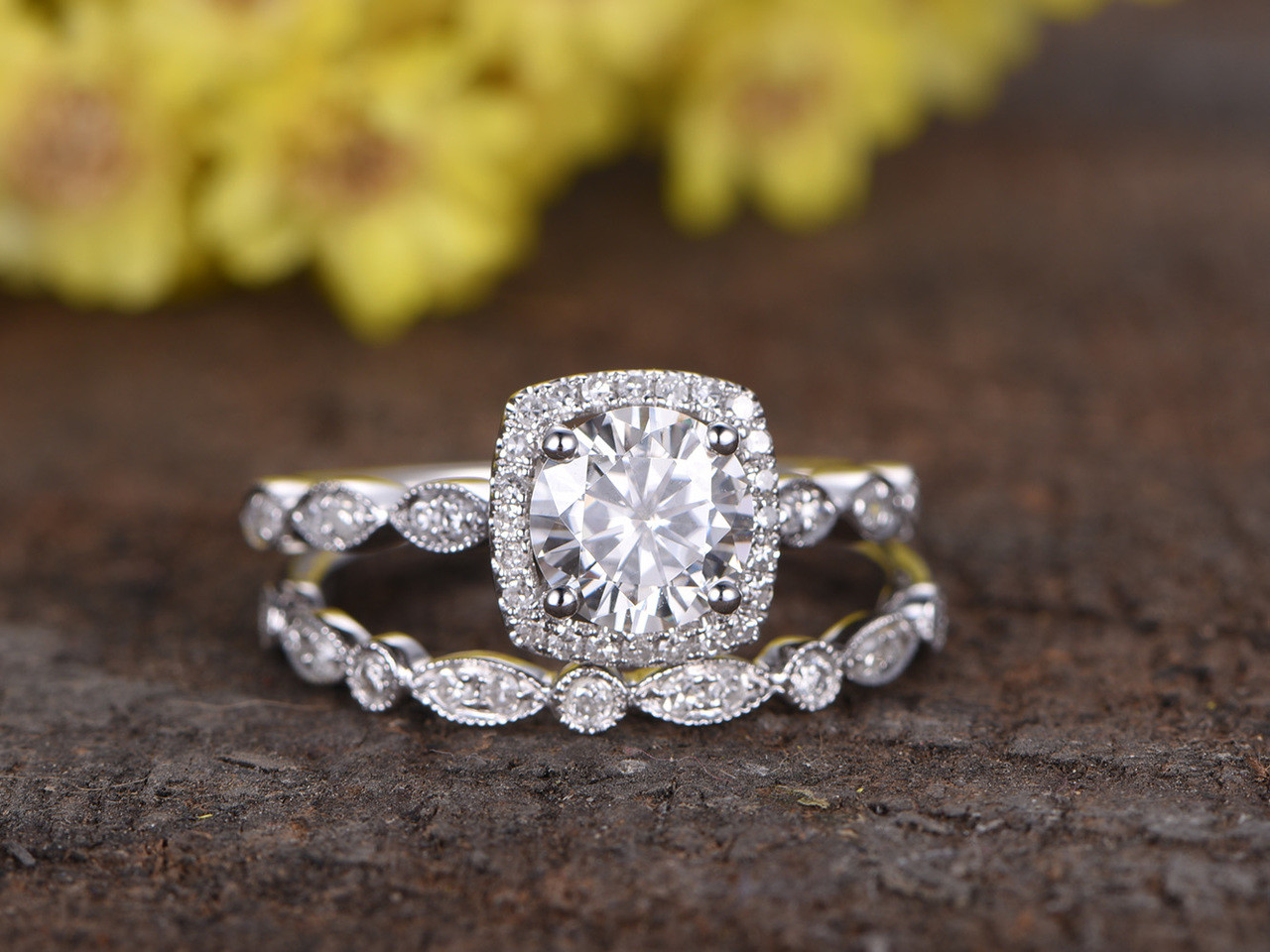 1 Carat Round Moissanite Wedding Ring Sets Diamond Art Deco Matching Band  14k White Gold Cushion