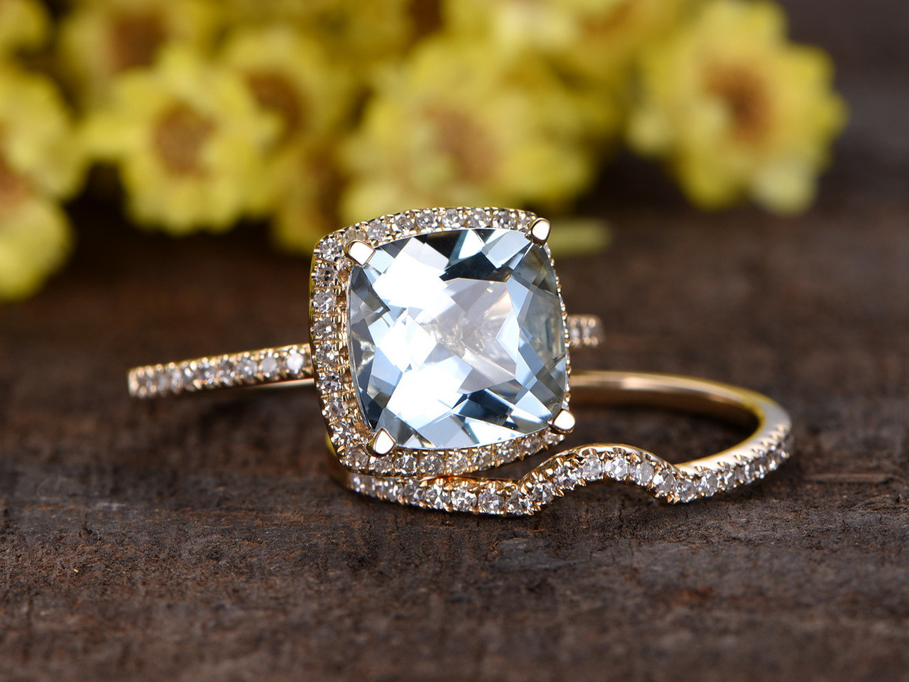 Amazing 3 Carat Cushion Cut Aquamarine Bridal Set Diamond Wedding Ring 14k Yellow  Gold Thin Pave Curve